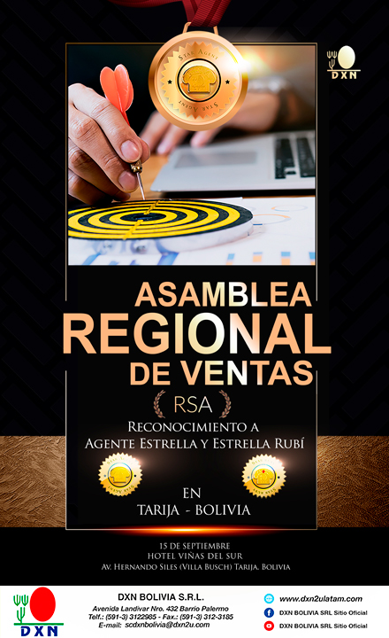 <h4>REGIONAL SALES ASSEMBLY</h4>  						<p>REGIONAL SALES ASSEMBLY (RSA)  FOR TARIJA BOLIVIA</p>