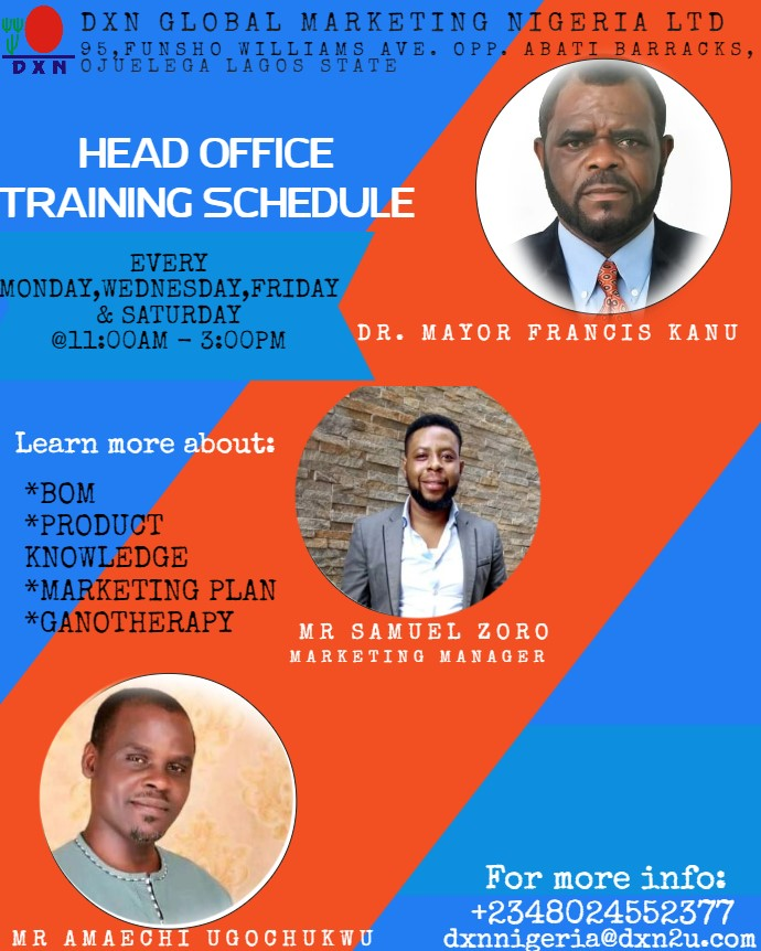 <h4>TRAINING SCHEDULE</h4><p><p>TRAININGS IN DXN NIGERIA HEAD OFFICE</p>