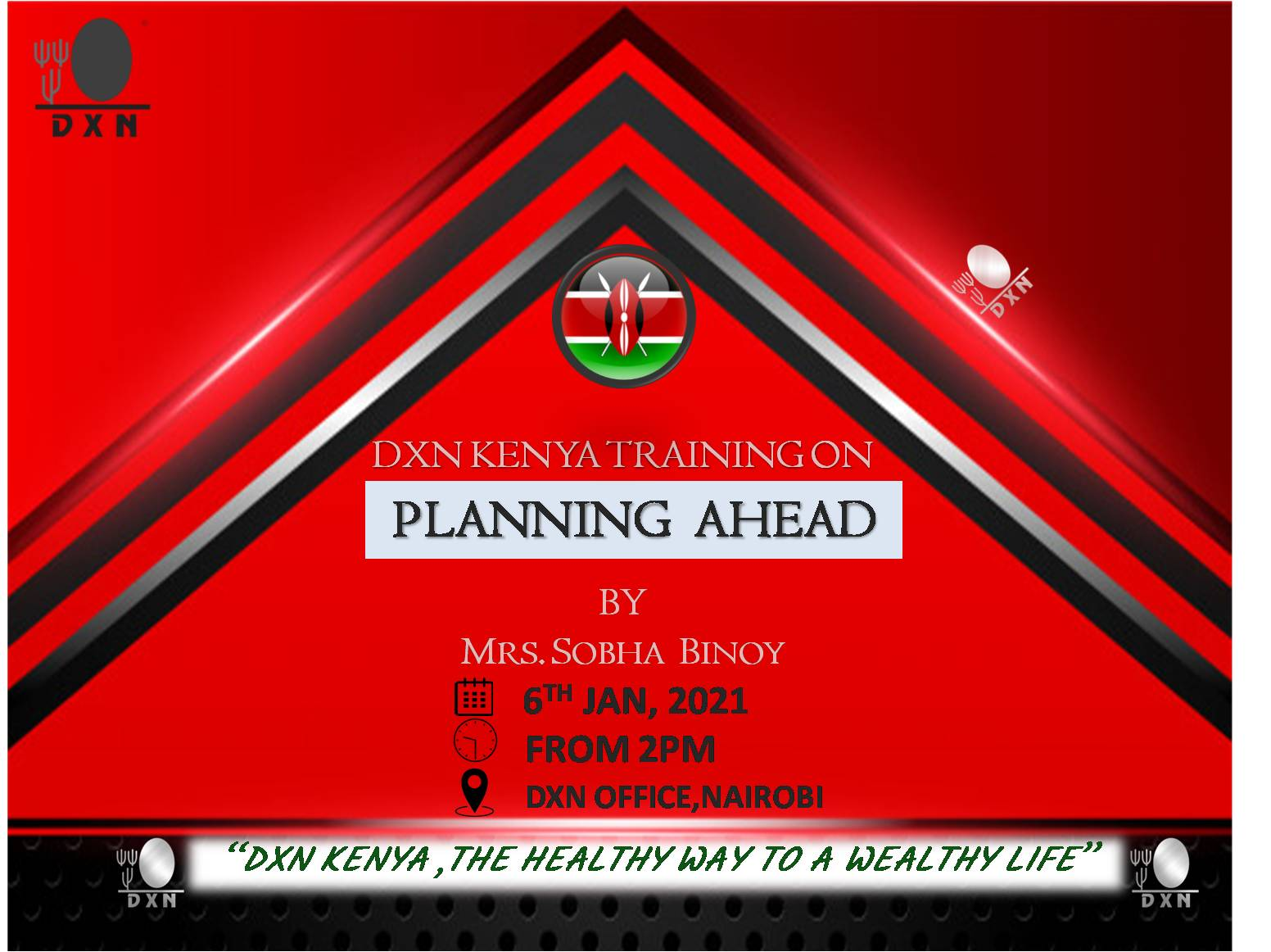 <h4>Special Training on: PLANNING AHEAD FOR 2021 DXN BUSINESS</h4><p><p>A business without a plan is like driving a car with eyes closed.</p>  <p>Take this free training oppoturnity to learn on ways of planning ahead and managing your DXN business.</p> </p>