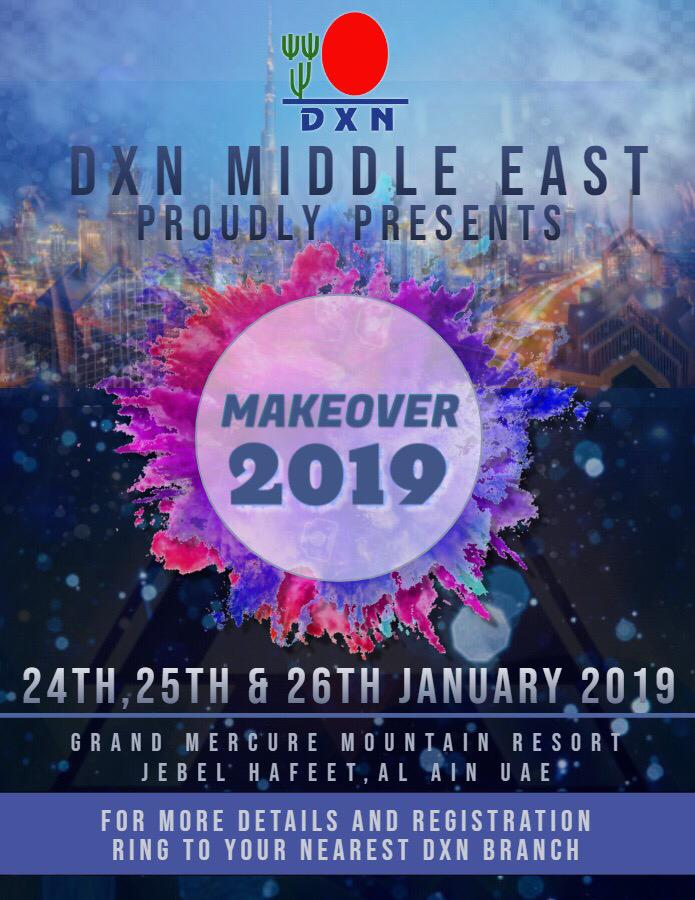 <h4>DXN Trip to Dubai</h4><p><p>Part of the DXN Kenya Family travelled to Dubai on January-2019,and got a chance to interact with Dxn world wide leaders and crown Ambassadors.</p>  <p>The meeting was Dubbed &#39;&#39;Makeover 2019&#39;&#39;</p> </p>